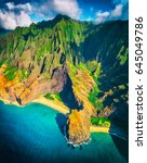 hawaii beach  kauai. na pali... | Shutterstock . vector #645049786