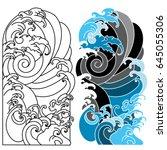 japanese wave for tattoo ocean... | Shutterstock .eps vector #645055306