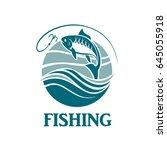 illustration of fishing emblem... | Shutterstock .eps vector #645055918