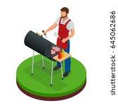male preparing barbecue... | Shutterstock .eps vector #645062686