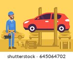 happy repairman standing in... | Shutterstock .eps vector #645064702