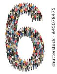 number six 6 group of people... | Shutterstock . vector #645078475