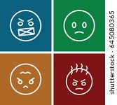 angry icons set. set of 4 angry ... | Shutterstock .eps vector #645080365