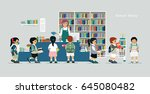 children borrow books from... | Shutterstock .eps vector #645080482