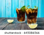 homemade cuba libre with fresh... | Shutterstock . vector #645086566