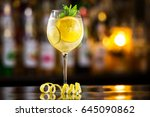 closeup glass of white... | Shutterstock . vector #645090862