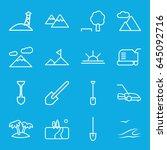 landscape icons set. set of 16... | Shutterstock .eps vector #645092716