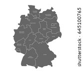 map of germany devided to 13... | Shutterstock .eps vector #645100765