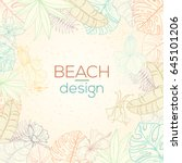 hand drawn tropical palm leaves ... | Shutterstock .eps vector #645101206
