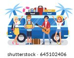 happy road trip friends stand... | Shutterstock .eps vector #645102406