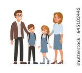 happy female and male teachers... | Shutterstock .eps vector #645102442