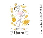 fashion cute flamingo with hand ...   Shutterstock .eps vector #645102445