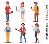 happy modern teenagers... | Shutterstock .eps vector #645102496