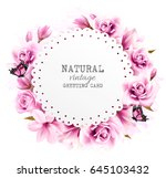 nature greeting card with pink... | Shutterstock .eps vector #645103432