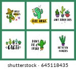 set of funny cards or posters... | Shutterstock .eps vector #645118435