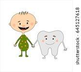 cartoon baby boy and mr. first... | Shutterstock .eps vector #645127618