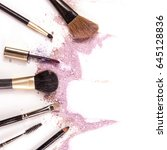 makeup brushes  lip gloss and... | Shutterstock . vector #645128836