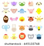 baby animal faces   Shutterstock .eps vector #645133768