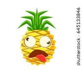 dizzy pineapple emoticon. cute... | Shutterstock .eps vector #645133846