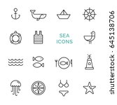vector set sea icons. line...
