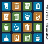 trash icons set. set of 16... | Shutterstock .eps vector #645154162