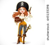 beautiful pirate woman in big... | Shutterstock .eps vector #645155398