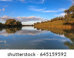 river channel in the danube... | Shutterstock . vector #645159592