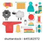 vector illustration. knitting....   Shutterstock .eps vector #645182572