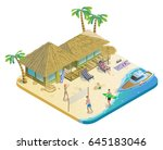 isometric summer beach vacation ... | Shutterstock .eps vector #645183046