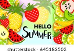 summer banner with fruit  place ... | Shutterstock .eps vector #645183502