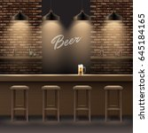 vector bar  pub interior with... | Shutterstock .eps vector #645184165