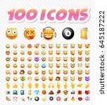 set of 108 cute emoticons on... | Shutterstock .eps vector #645187222