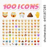 set of 108 cute emoticons on... | Shutterstock .eps vector #645187285