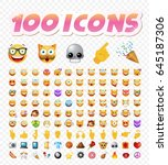set of 108 cute emoticons on... | Shutterstock .eps vector #645187306