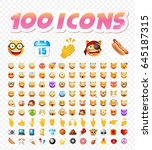 set of 108 cute emoticons on... | Shutterstock .eps vector #645187315