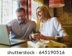 business meeting in a cafe....   Shutterstock . vector #645190516