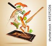 fresh sea food  prawns and... | Shutterstock . vector #645191206
