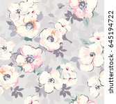 soft watercolor like floral... | Shutterstock .eps vector #645194722