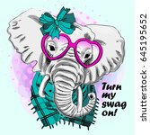 vector elephant with pink... | Shutterstock .eps vector #645195652