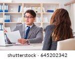 business meeting between... | Shutterstock . vector #645202342