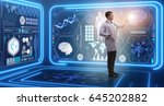 man doctor in futuristic... | Shutterstock . vector #645202882