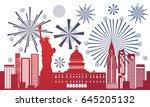 silhouette united states... | Shutterstock .eps vector #645205132