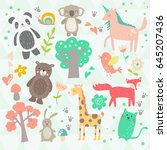 a collection of cute animals... | Shutterstock .eps vector #645207436