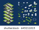 city isometric concept of urban ... | Shutterstock .eps vector #645211015
