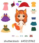 little cute fox girl with... | Shutterstock .eps vector #645215962