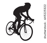 cyclist vector silhouette  road ... | Shutterstock .eps vector #645225322