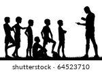 Editable vector silhouette of a man coaching children football - stock vector