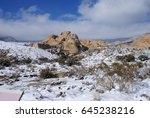 snow in the desert   red rock... | Shutterstock . vector #645238216