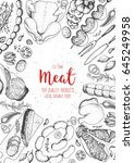 meat top view frame. vector... | Shutterstock .eps vector #645249958