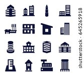 buildings icons set. set of 16... | Shutterstock .eps vector #645265918
